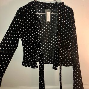 Nasty Gal Polka Dot Tie-Front Blouse